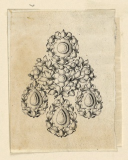 Jewelry design for an earring. Above, a disk framed by a wreath of leaves, below three drops, framed similarly, connected by a branch with many blossoms, leaves, and budding flowers, with a larger blossom at the center.