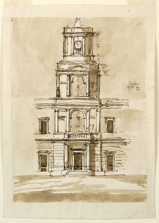 Drawing, Elevation of a building with a tower