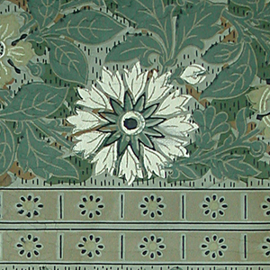 On grey-green textured ground, vertical bands of stylized flowers in green and white alternating with narrow double bands of small flowers divided by short vertical lines. Aesthetic-style design.