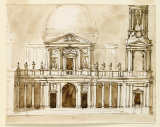 A large two-storey Palladian building with dome; tower on right side; statues along upper storey.