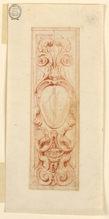Vertical format design for stucco decorations of panels. An escutcheon with a standing female is topped by acanthus scrolls. It is supported by a kind of pedestal, composed of scrolls, a shell, a mask.