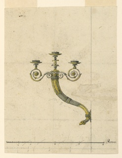 Vertical rectangle. Design for a candle bracket intended to be executed in partly gilded bronze. A central and two lateral arms springing from a cornucopia, with a ram head as point at base. Two scales in pen and ink and graphite at bottom.