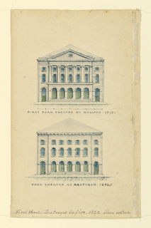 """Vertical rectangle. Above: Double storied pedimented building, with inscription """"First Park Theatre by Holland 1797"""" and below, the same building without pediment, inscribed """"Park Theatre as Restored 1820.1"""". Along lower margin: """"First Theatre Destroyed by Fire 1820""""."""