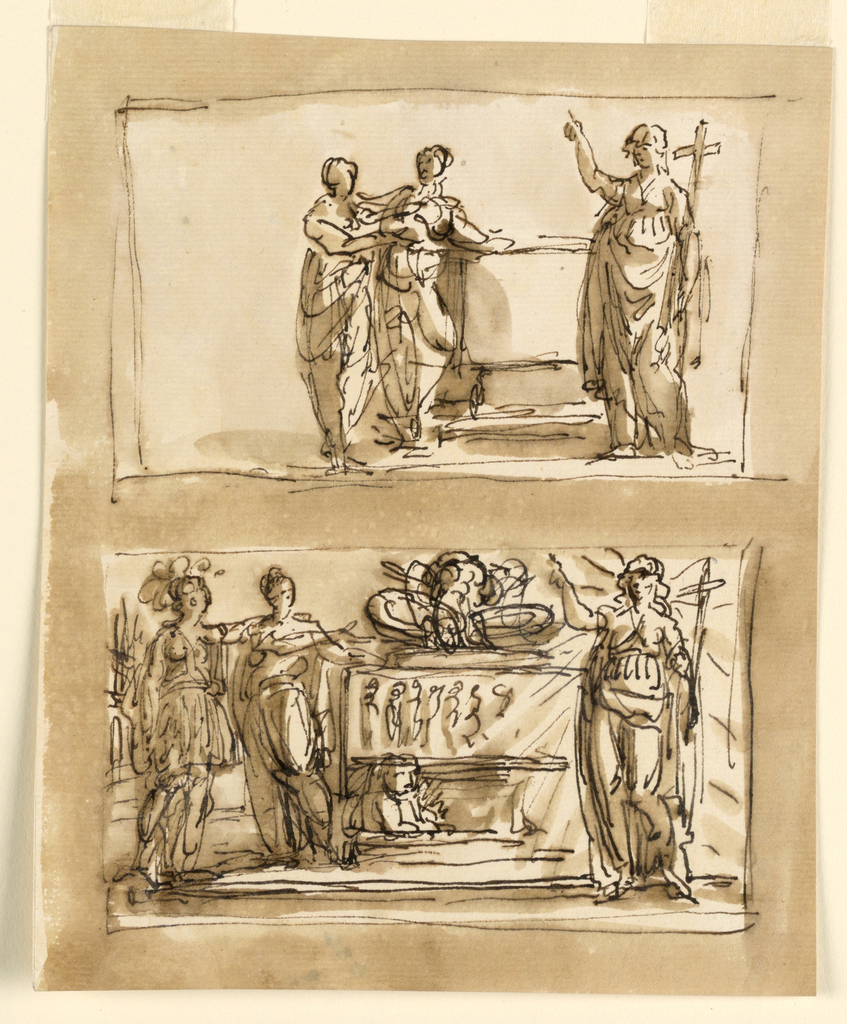 Two scenes. At top, three figures, one with a cross, stand beside a tomb. At bottom, a more detailed variation of above.