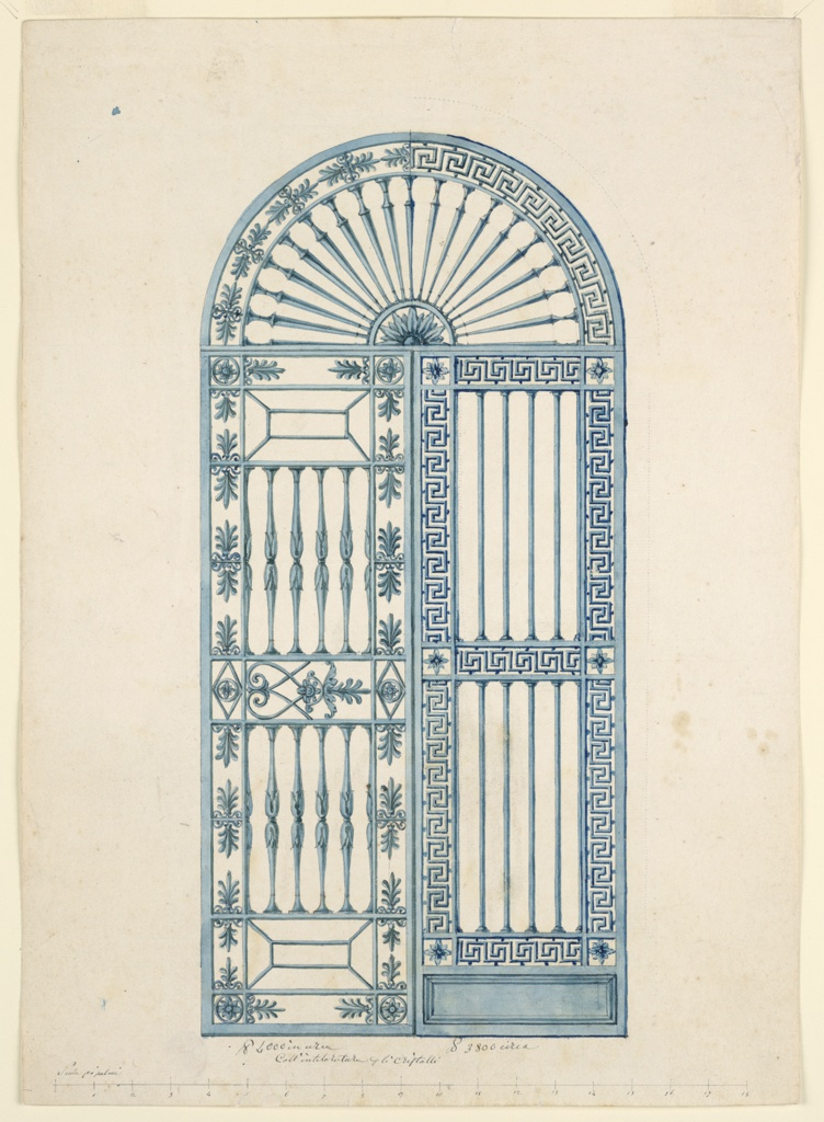 Vertical rectangle. An arched, iron gate divided into three sections: a semi-circular panel above and two vertical leaves below. The semi-circular section has a half-rosette in the lower center with balusters radiating from it like spokes of a wheel. The framing arched band shows a repeating palmette motif in the the left half and a Greek key motif in the right half. These motifs are respectively used in the framing borders of the left and right leaves. The right leaf is divided into two main panels and a small base panel. The two oblong panels contain vertical round bars; the lower base panel is a solid rectangle. The right leaf is framed on all sides and between the two oblong panels with the repeating Greek key motif. The left leaf is divided into two main panels, each of which consists of an oblong panel with baluster-shaped bars. These two panels are divided by a band, subdivided into three compartments, with alternative suggestions for the decoration of the larger panels. A smaller upper and lower panel is decorated with a column capital-like motif. The left leaf is framed on four sides by a band of palmettes.