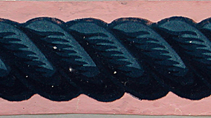 Rope twist or cable molding. Printed in blue flock and overprinted with lighter shades of blue and black. On pink ground.  H# 36