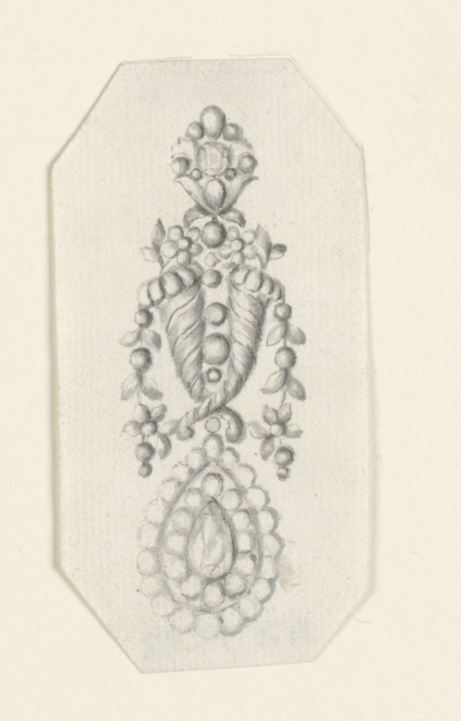 Jewelry design for an earring. On top, a chalice with a vertically disposed blossom. The central part is composed of two erected cornucopias, each containing an erected and a hanging flower stem. Below, a drop with a double frame. Bevelled corners.