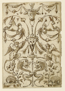 Vertical rectangle, symmetrical scheme. A candelabrum is in the middle, consisting of an ox-head carrying a skull mask in the center. Below is a staff, to which two dolphins are fastened. Festoons hang laterally above. Spirals spring from the mask, ending with half-figures of hares. Below are porcupines and plants, above which armless winged satyresses stand. Framing line.