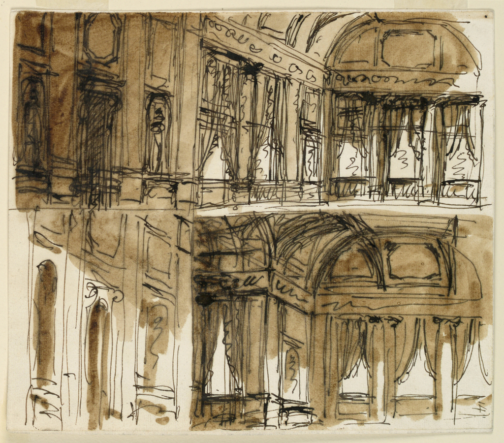 Drawing, Palace interior