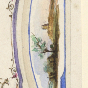 Design for ceiling and pendentives. At center, a musical trophy surrounded by a colorful garland and a purple border with dolphins. Pendentives framed with blue, three showing landscape scenes.
