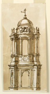 Drawing, Steeple in Baroque style
