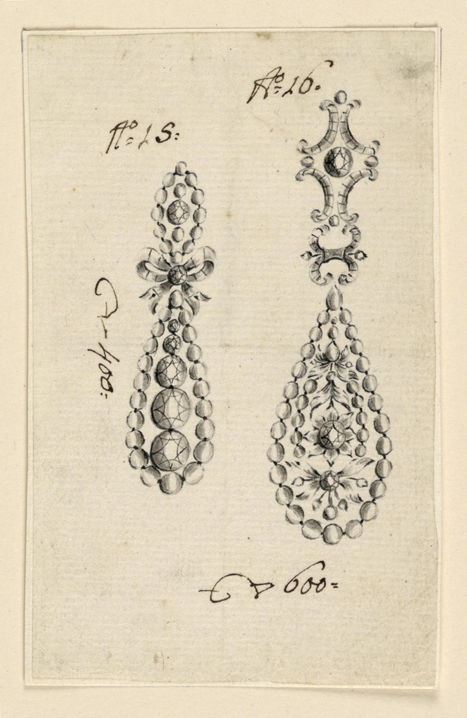 Drawing, Design for two earrings, 1800–1825