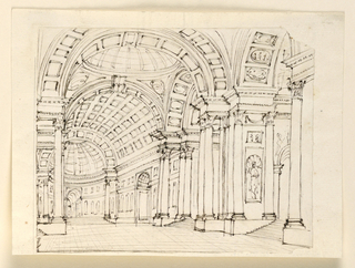 Horizontal rectangle. Principal nave of temple with stairs leading into aisles at the sides, richly decorated arch and dome ceilings.