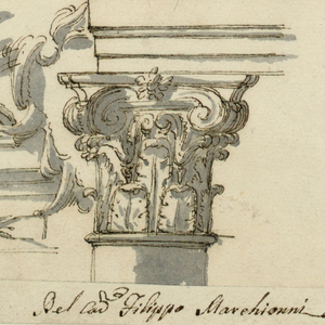 Top: four designs of entablature and pediments, which are decorated by moldings. Center left: left corner of an entablature, supported by a column. Bottom left: left side of an entablature and a triangular pediment. Bottom right: composite capital supporting an entablature with decorated frieze and triangular pediment.