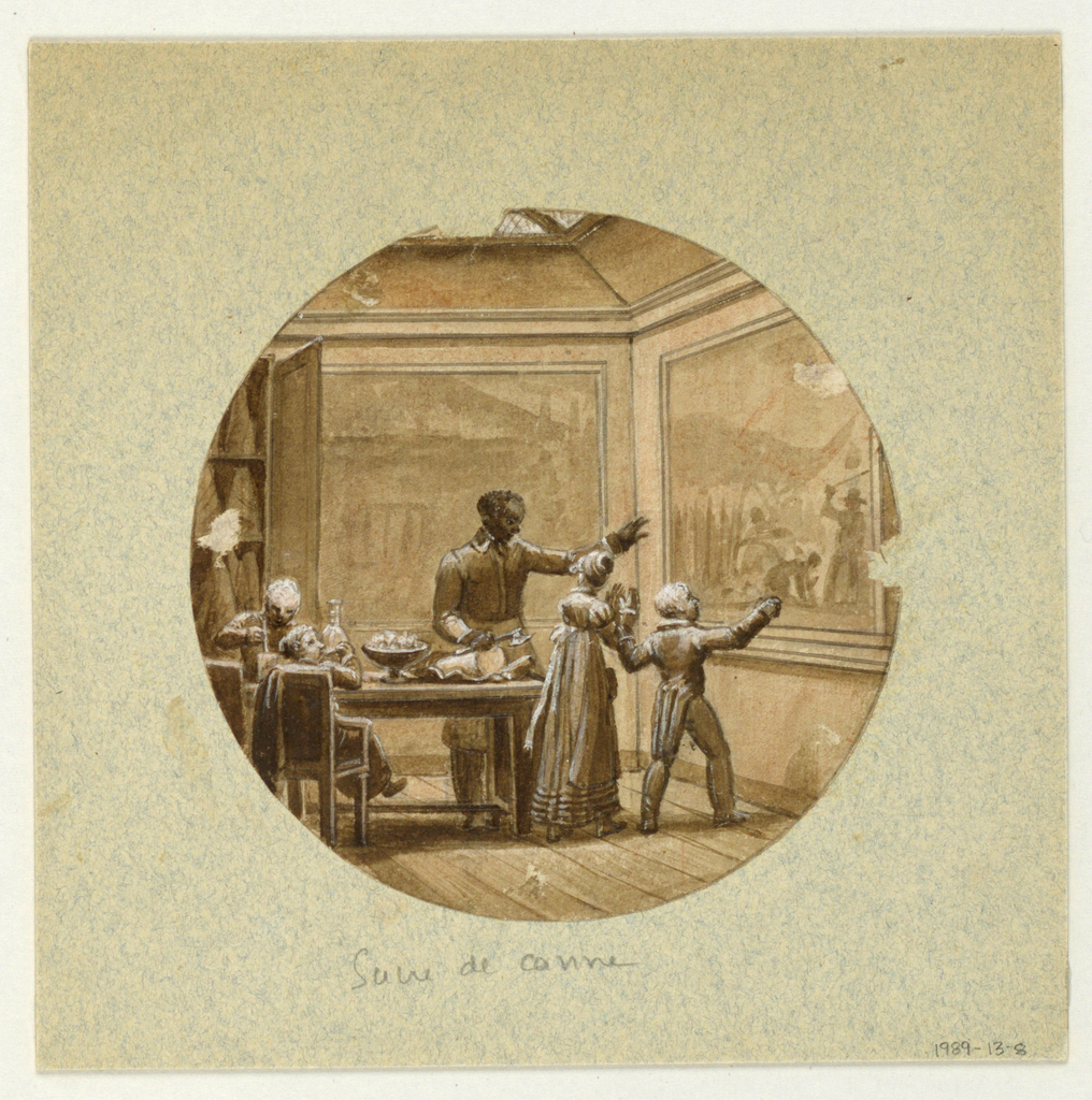Design for a painted porcelain plate, rondel. Scene in a sugar shop.  Figure of a black man, center, points to a large picture on the right wall depicting people working in a sugar cane field.  He is explaining the scene to a young boy and girl.  He holds an axe in his right hand to cut a piece of sugar cane in a dish placed on a table in front of him.  A young boy, left foreground, seated at the table is tasting a piece of sugar cane.  Another boy seated opposite him is processing sugar [?].  A cupboard, left background, holds large pieces of sugar cane.