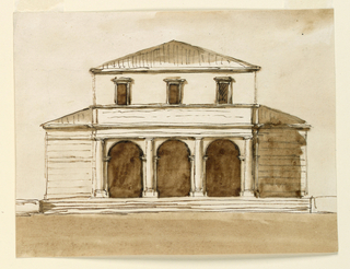 Drawing, Low building with triple-ordered arcade