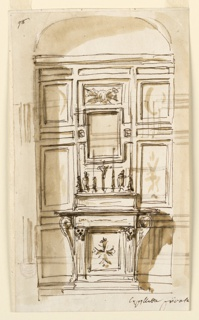 "Vertical rectangle. Above the altar ledge stand four candlesticks, a crucifix, Mary and St. John. Above is the frame for a picture. A trophy of the arms of teh Passion is in the panel  above it. The wall is divided into a dad and panels. Written below, at right: ""Capellata privata,"" in the upper left corner: ""98.""  Reverse: Sketches for the decoration of a dado."