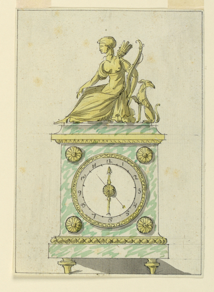 Design for a marble and bronze clock. The case is marble with bronze decoration. Mounted above is a bronze group of seated Diana (?) and a dog.