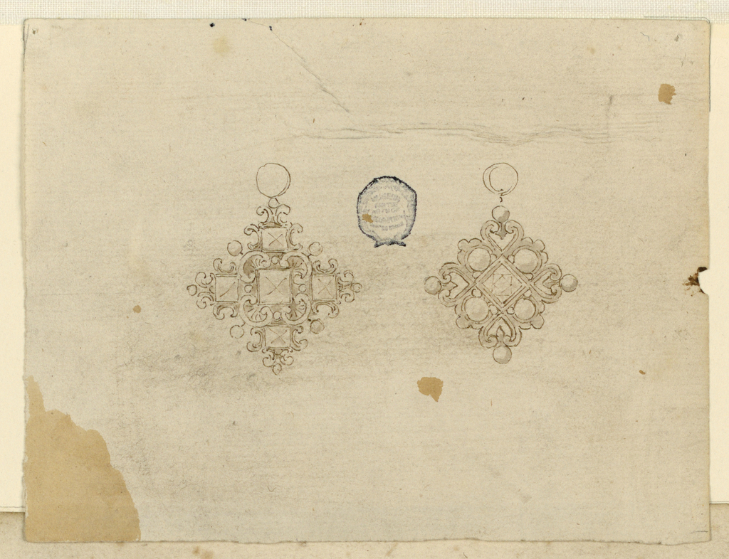 Two pendants, one beside the other, both square shaped. At left, volutes and diamonds. At right, pearls, a diamond in the center and heart forms. Both with rings on top.
