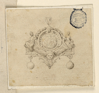 In the shape of a pediment with a circular diamond between two framing volutes. On either side are seated female figures, a cherub head below. Below, hanging two round pearls.
