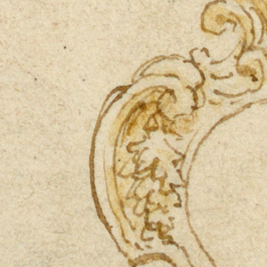 Escutcheon with an acanthus leaf at top and mask below.