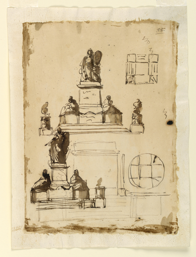Above: The lower part and the disposition of the pedestal upon the steps are similar to 1938-88-1315. The scheme of the upper part is similar to that of 1938-88-1297, but he lateral figures sit immediately upon the lower part of the pedestal, in the heigh of the upper edge of the body of the sarcophagus. The medallion is at right of the standing figure, probably supported by a kneeling angel, as another possibly is at left. Beside is a plan, drawn into a square. The steps are between squares at the corners and inside is anew a square. Below at left and with the uppermost parts over the upper project, is a slightly variation similar sketch. It is partly drawn over another, only begun, intending to dispose the sitting figures upon parapets, flanking the steps, and having a mere pedestal below in the center. At right is a plan, inscribed into a circle, providing for a central square, with the arms of a cross. Outside, only partly sketched is a square. Scratching. Some sepia wash at the edges.