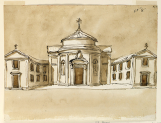 Drawing, Elevation for a church for Monte Vergine