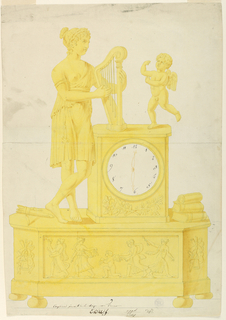 Base on cushion feet, front panel represents Cupid, his wings being clipped by four girls. Above, a dial, a woman playing a harp at left. Cupid, at right. Books and a paper scroll to right of clock.   Lower center:  Inscriptions: Pen and brown ink: Terpsichore pincant de la harpe avec l'amour / E.D.W.F. n.g.g.d. / [unreadable]  Lower right: Cooper Union stamp #457D