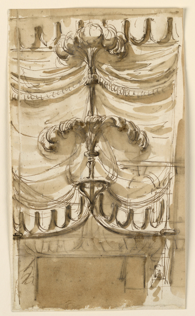 Drawing, Drapery as an overdoor