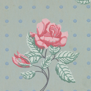 Design of rose spray with flower and bud alternating with bud spray in diagonal lines; ground covered with dots arranged in vertical and horizontal lines. Printed in pink, green and blue on pale blue ground.