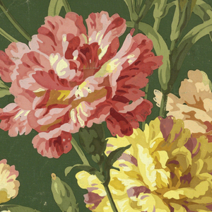 a) Printed on horizontally ribbed paper: realistically rendered yellow and pink carnations printed on green ground; b) Same.