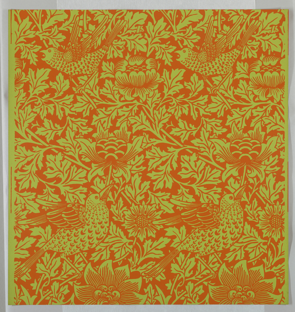 """""""Bird and Anemone"""" pattern; a/g: printed in orange on green. Sample number stamped on verso: 138310; h/m: printed in red on red. Sample number stampedon verso: 134850; n/v: printed in green on blue. Sample number stamped on verso: 138800."""