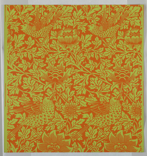 """Bird and Anemone"" pattern; a/g: printed in orange on green. Sample number stamped on verso: 138310; h/m: printed in red on red. Sample number stampedon verso: 134850; n/v: printed in green on blue. Sample number stamped on verso: 138800."