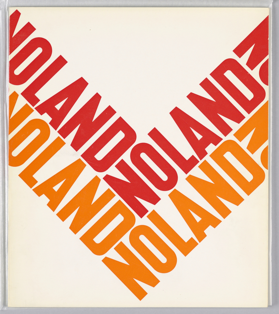 "Exhibition catalogue for Kenneth Noland, The Jewish Museum, New York, NY. Vertical format, two ""V""-shaped forms pointing down made up of the word ""NOLAND"" repeated twice, the upper ""V"" in red, the lower ""V"" in orange on white ground."