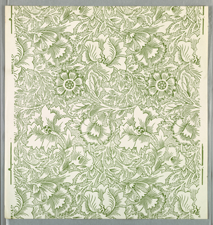 """Poppy"" pattern; a/c: printed in green on white. Sample number stamped on verso: 135020; d/h: printed in red on red. Sample number stamped on verso: 135000."