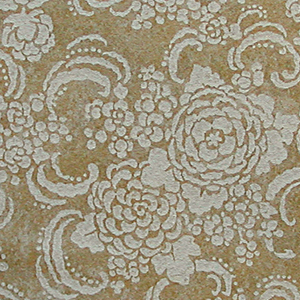 Floral design with Japanese inspiration printed in flat white on an oatmeal-type wallpaper. The background is mottled beige and yellow shades. Printed in selvedge:  Rd No 721368.