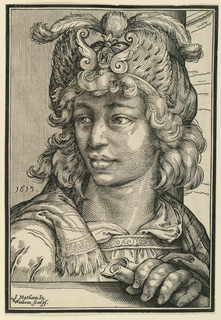 Fantastic bust-length portrait of a young man wearing an elaborate feather cap, looking right. His left hand rests on a foreground parapet, holding a scroll.