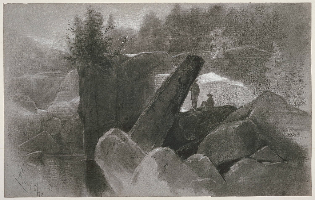 Horizontal view of two fishermen, with one standing and one sitting, beside a mountain pool at left.