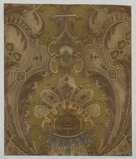 "Imitation leather. A large center motif of fantastic flowers and scrolls. Enclosed in oval shaped bands with acanthus leaves. Copied from a collection of old tooled leathers at The Hague, Netherlands. Entire design is embossed and antiqued by hand. On reverse side is written: ""8396EC""."