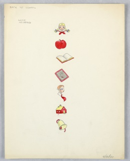 On single sheet of paper: 7 color drawings of school-related things, e.g. school girl with blond braids, red apple, open book, blackboard, school boy, red school house, school bell.
