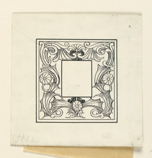 A symmetrical design of flowers and leaves. Blank frame for initial, center.