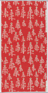 White and gold pattern on a red ground showing abstracted Christmas trees with ball ornaments and stars. Upper right: THE CRYSTAL TISSUE CO USA