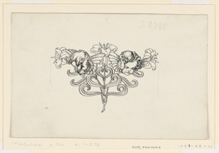 A design composed of cherubs' heads and lilies.