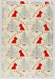 Red and grey print of stars, Christmas trees, candles and the profile of a Scottie dog.