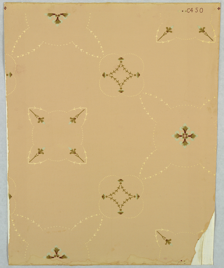 Horizontal rectangle. Slender conventional foliate and floral forms repeating in alternating geometric patterns. Printed in blue-green and cream on pink ground.