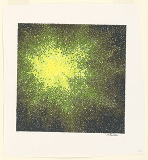 Green and black shape with yellow burst of light off-center.