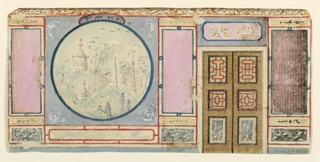 Elevation of a wall with a doorway at right, surmounted by a painted tablet bearing Chinese characters. The decoration of the wall at left consists of a Chinese scene within a circular frame, flanked by narrow panels with neutral fields.  Original album associated with this collection still exists: see 1948-40-1 accessory.