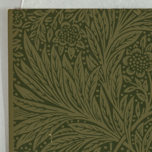 """Marigold"" pattern, a/c: printed in green on green ground. Sample number stamped on verso: 134810; d/f: printed in olive on white ground. Sample number stamped on verso: 133350."