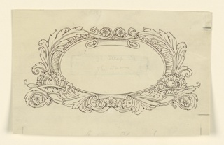 Scroll work, with waves and rosettes above and below. Fruit, lower left and right. A horizontal rectangle in pencil inside, with writing erased.