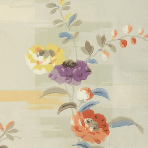 A simple floral design in the modernist style. Petite flowers and foliate sprigs are printed over a cubist or patchwork ground.